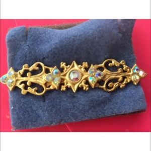 Jewelry - Brooch rainbow crystals  & gold tone , versatile
